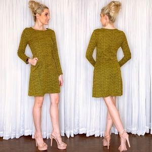 Yellow Long Sleeve Sweater Dress